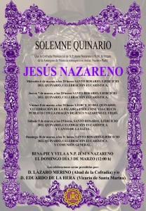 Cartel Quinario a N.P. Jesús Nazareno 2013.