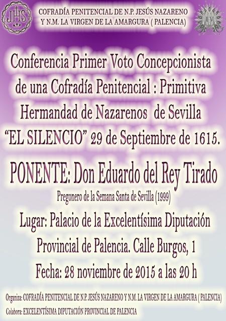 """2ª Conferencia """"Primer Voto Concepcionista de una Cofradía Penitencial"""""""