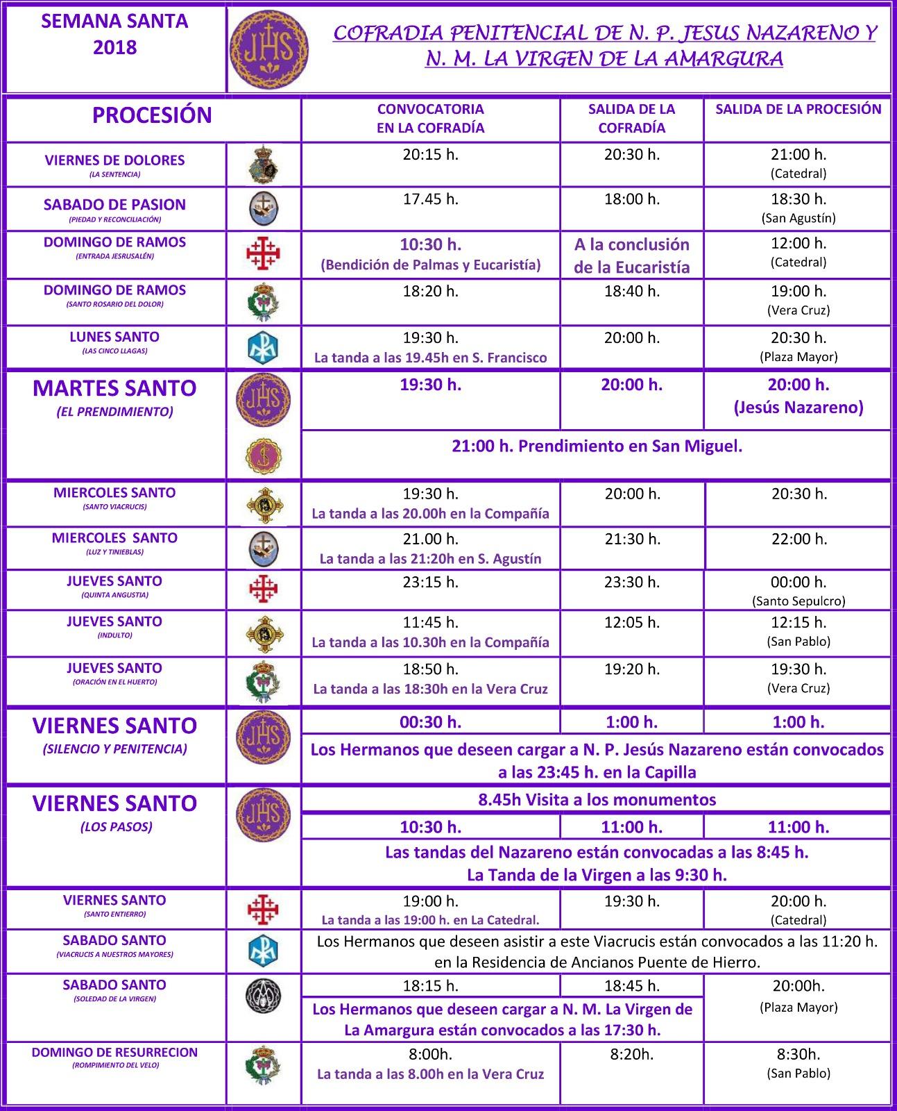 HORARIOS PROCESIONES 2018